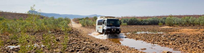ATA overland truck in Purnululu National Park, Western Australia