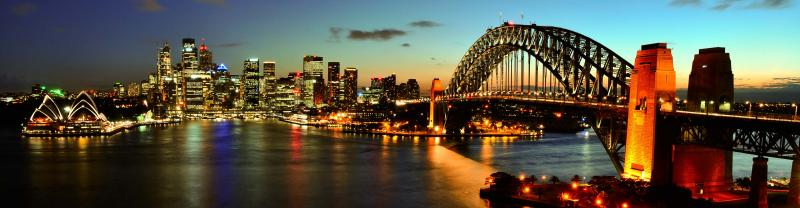 The Opera House and Harbour Bridge at sunset in Sydney, New South Wales