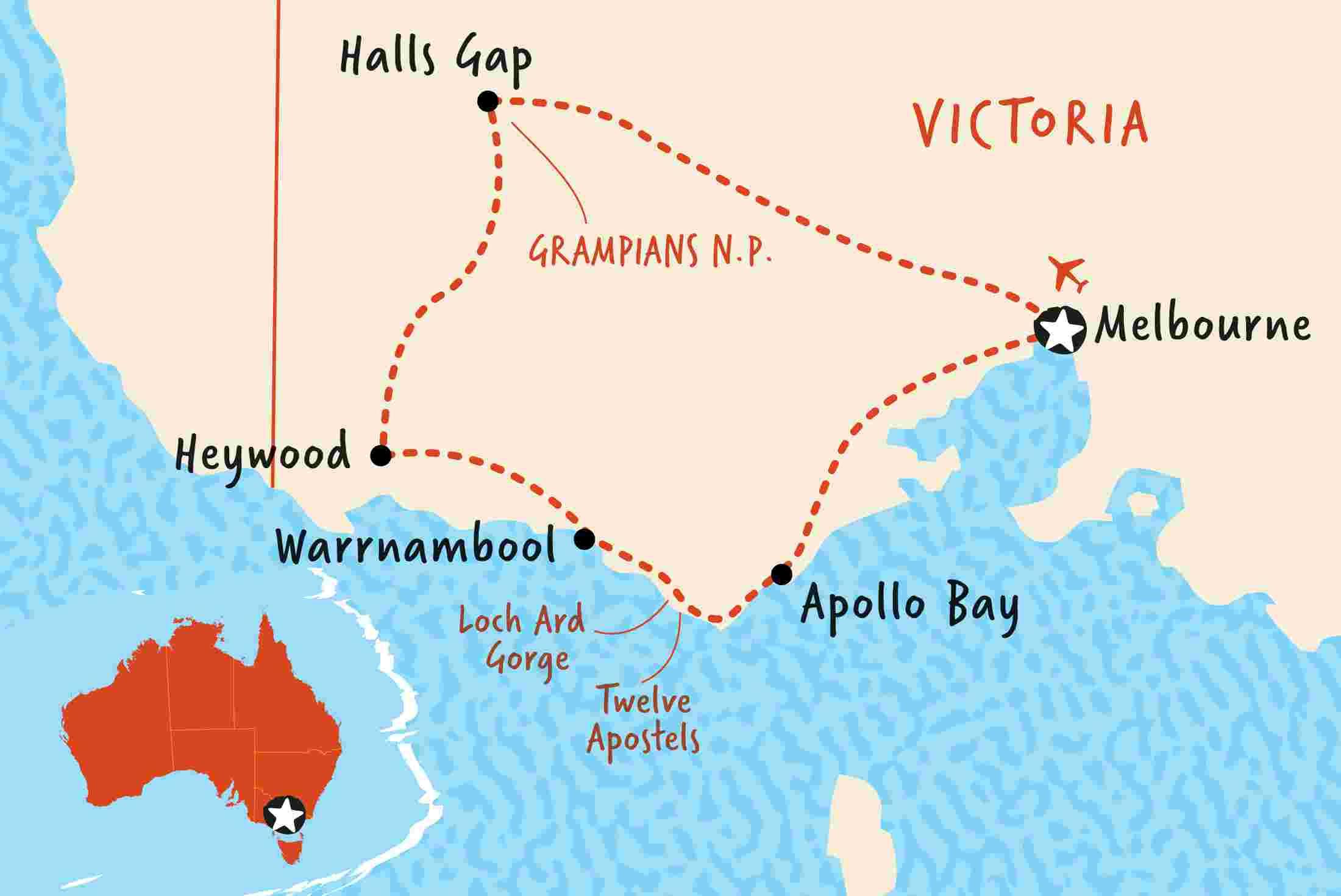Map Of Great Ocean Road Great Ocean Road & Grampians Discovery | Adventure Tours EU