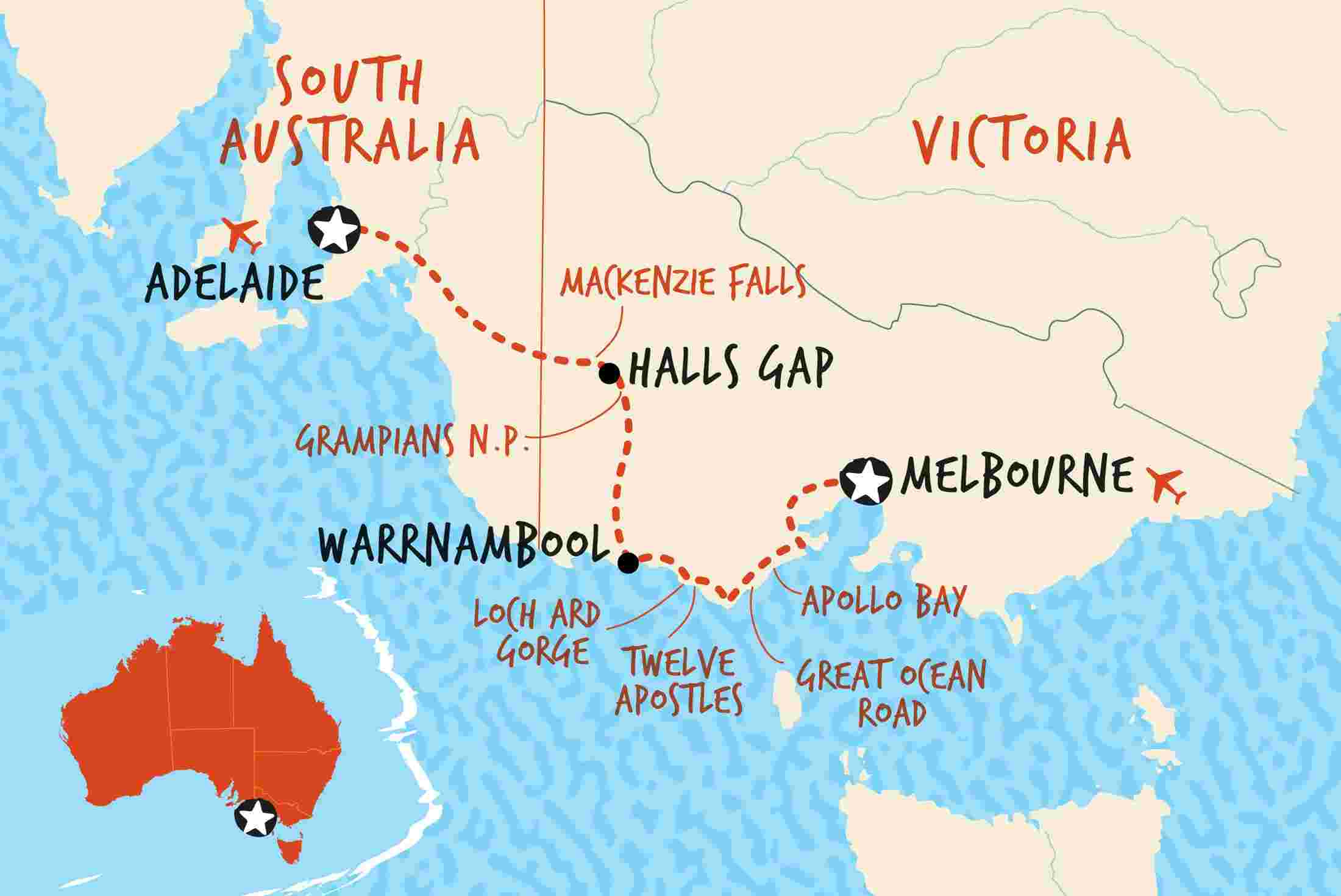 Melbourne Australia World Map.Great Ocean Road Adventure Ex Melbourne Overview Great Ocean Road Adventure Ex Melbourne