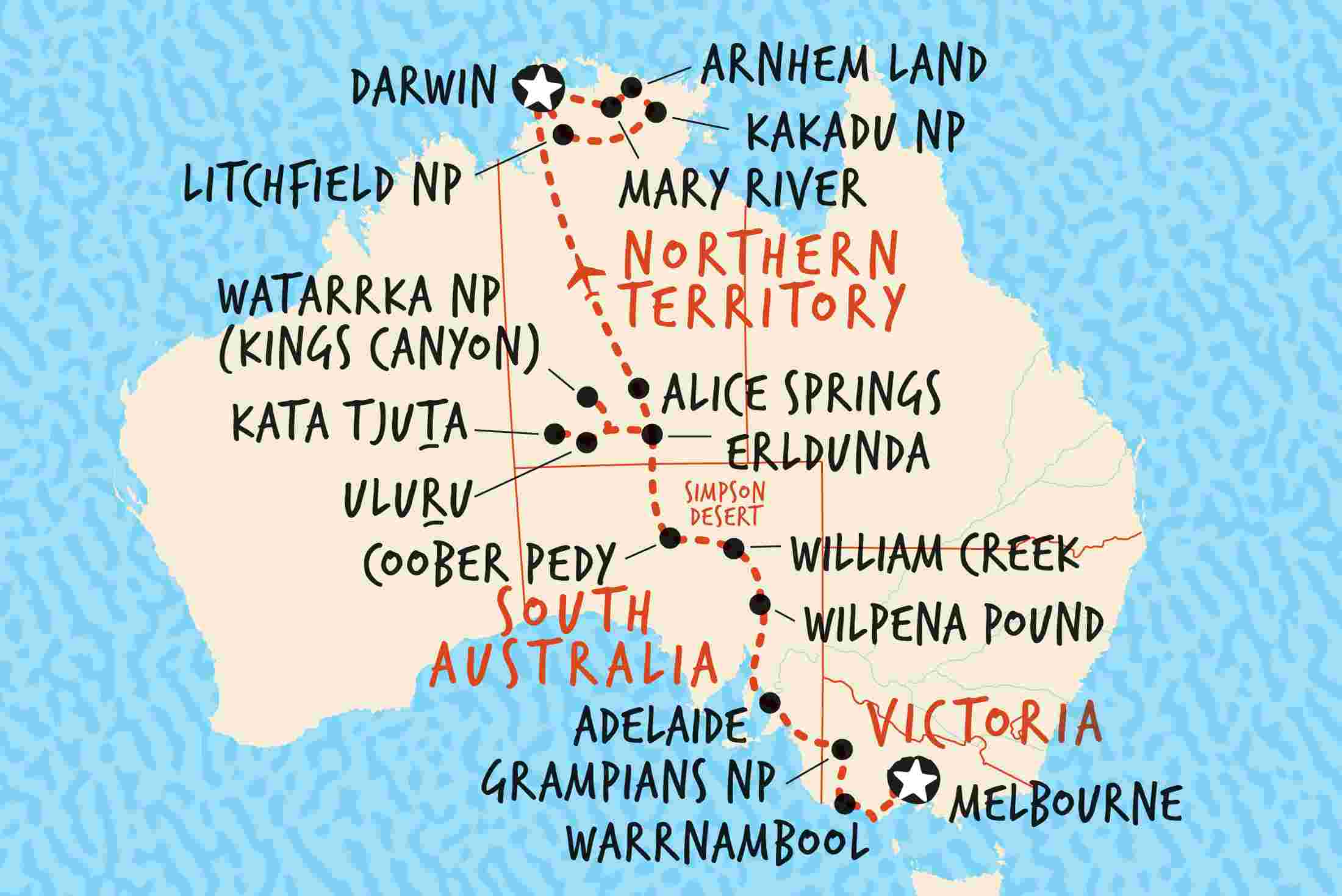 Darwin Map Of Australia.Melbourne To Darwin Overland Adventure Tours Au