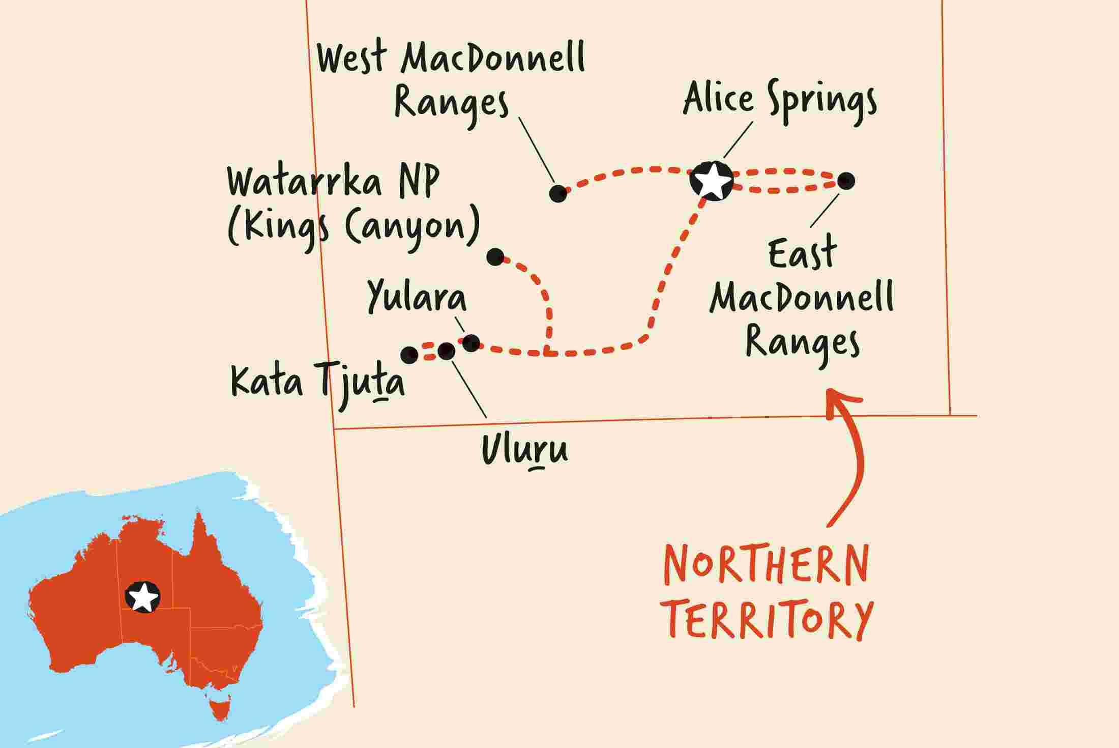 Map Alice Springs Outback Camping Adventure | Adventure Tours EU