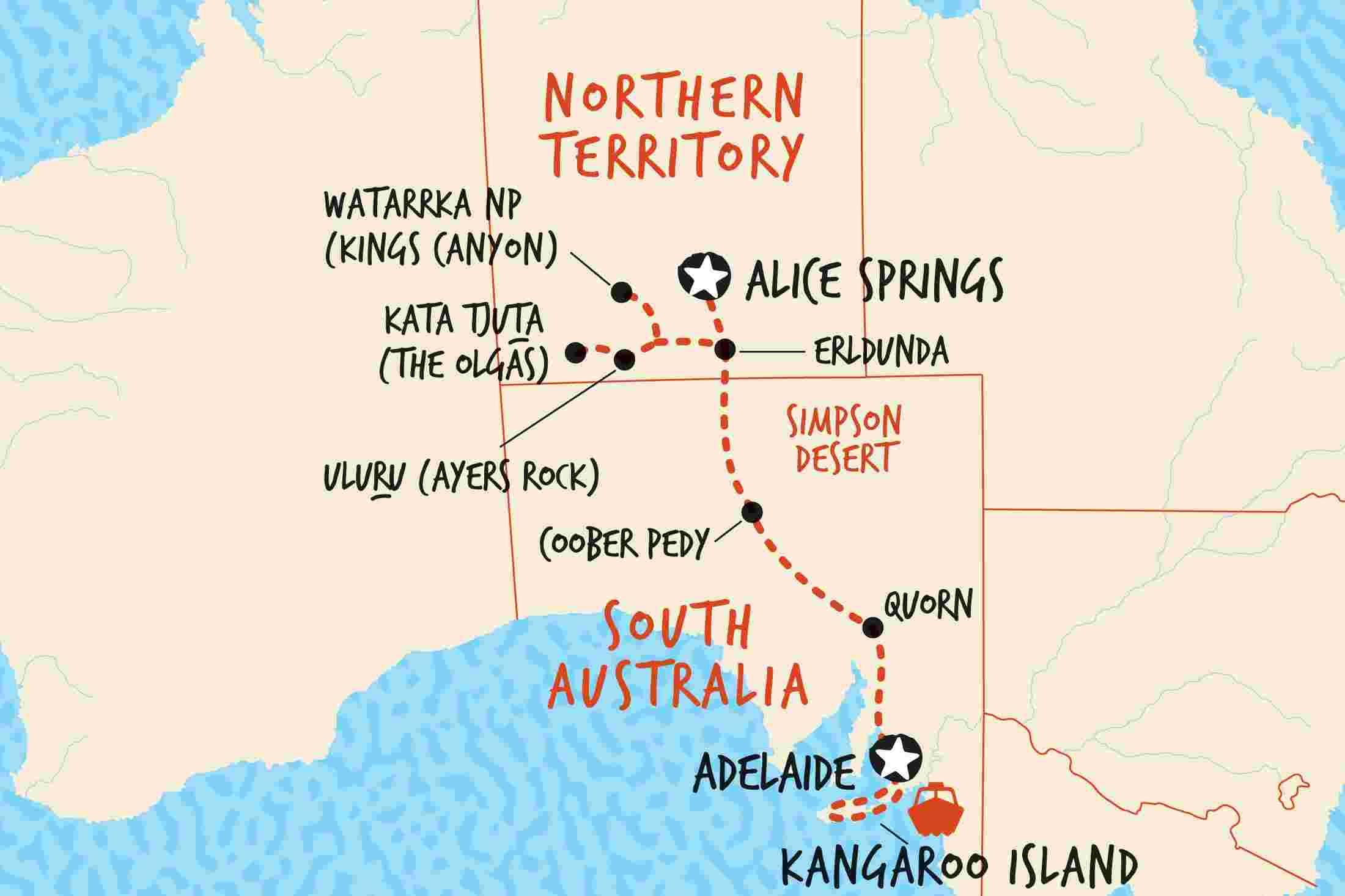 Map South Australia.South Australia Tours Trips Adventure Tours