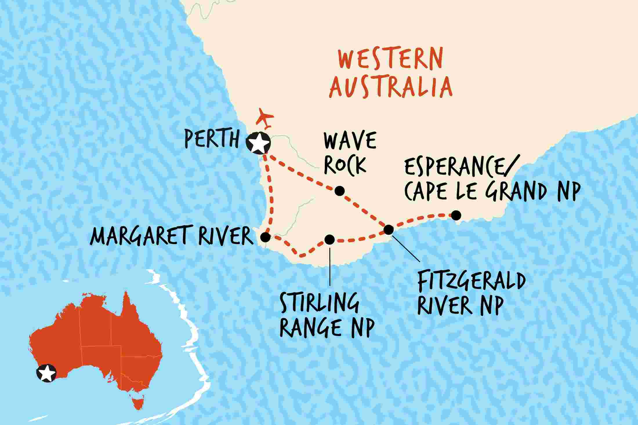 Southwest Australia Map.Esperance Southwest Adventure Overview Esperance Southwest Adventure
