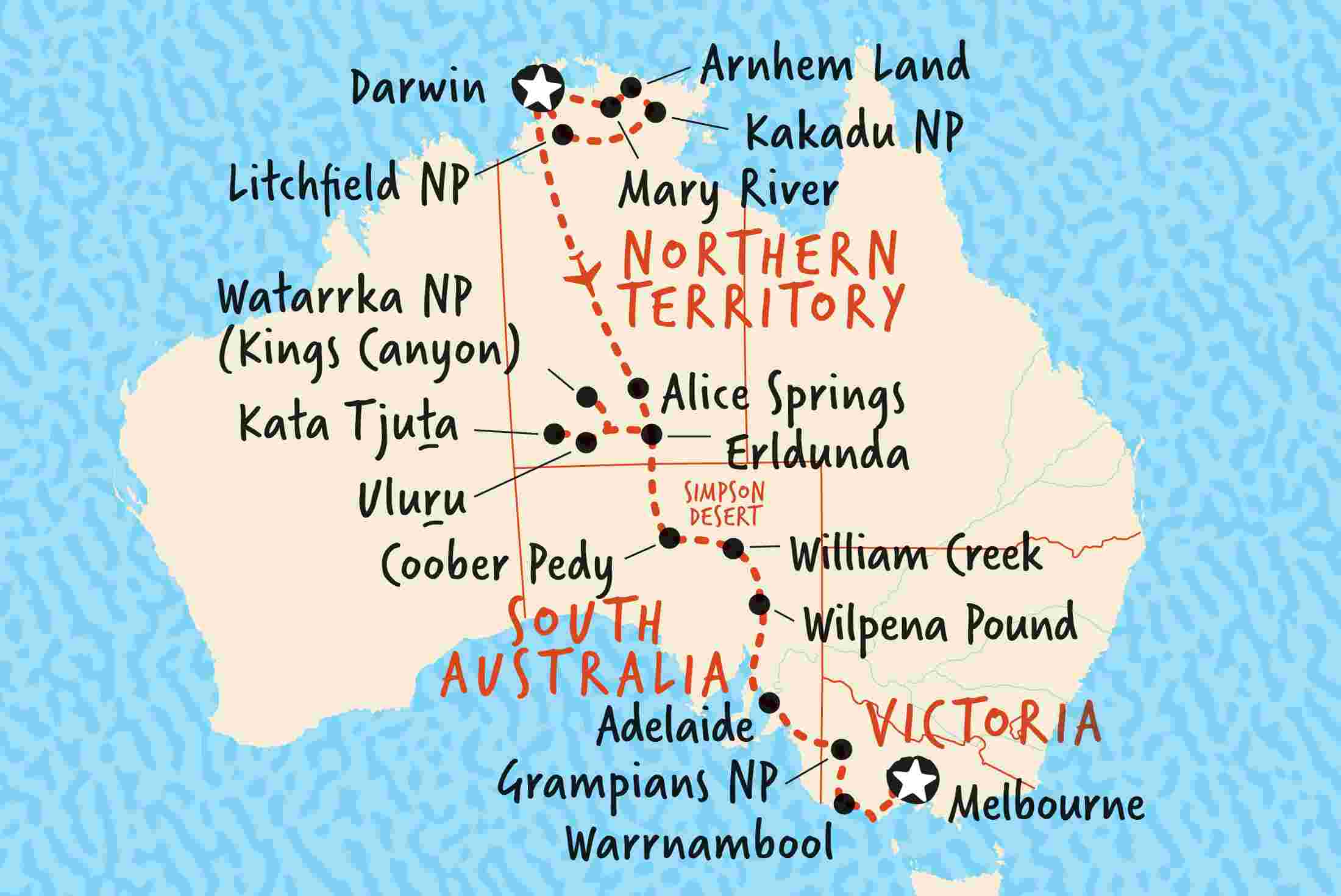 Darwin Australia Map Darwin to Melbourne Overland | Adventure Tours AU Darwin Australia Map