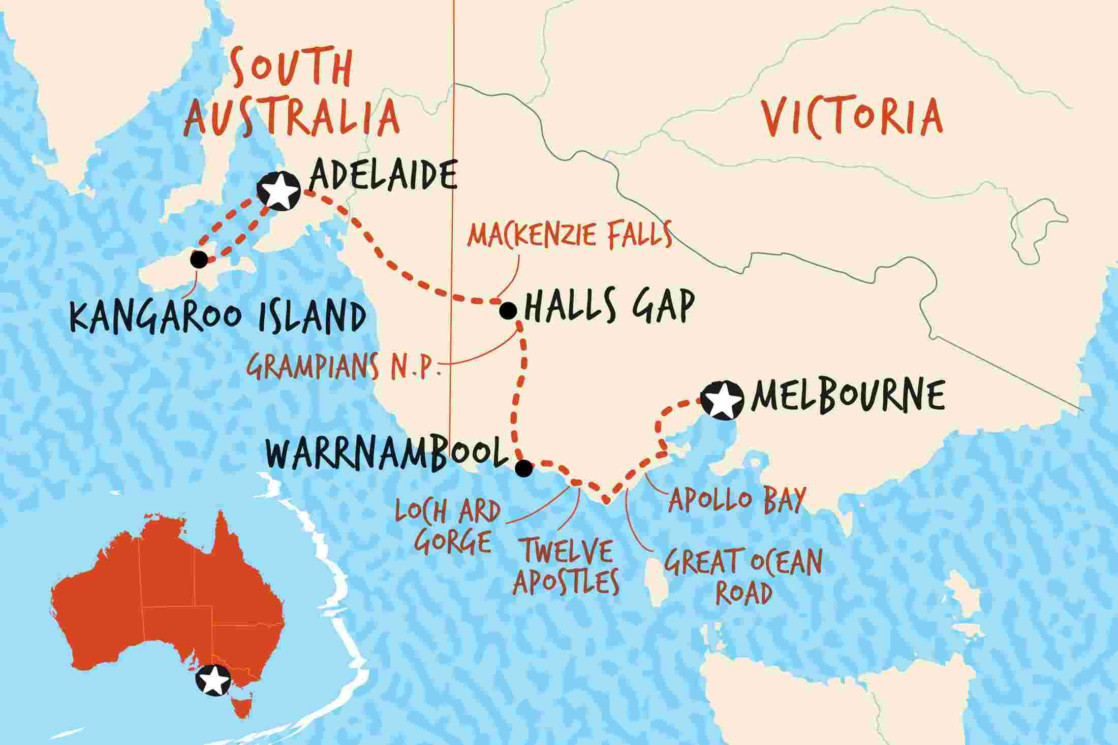 Kangaroo Island Australia Map.Great Ocean Road Kangaroo Island Adventure Adventure Tours Eu