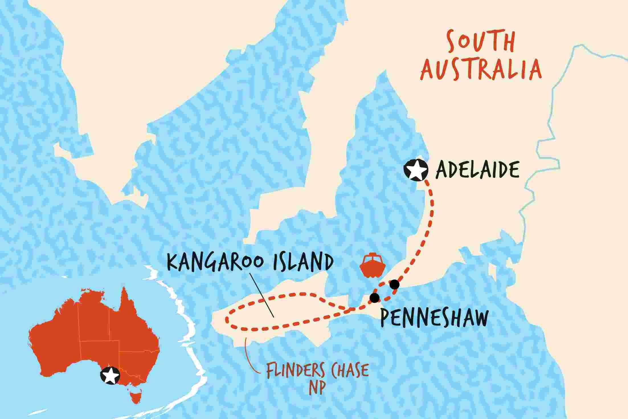 Kangaroo Island Tour Map