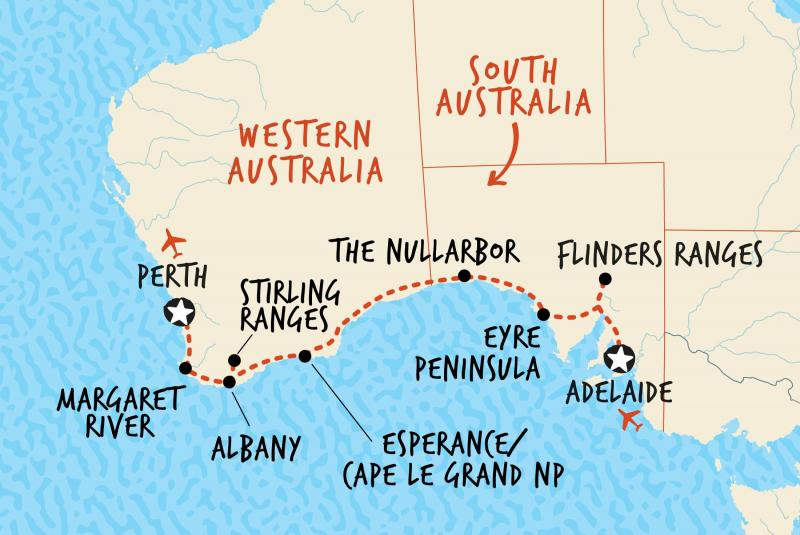 Map of Adelaide to Perth Overland including Australia
