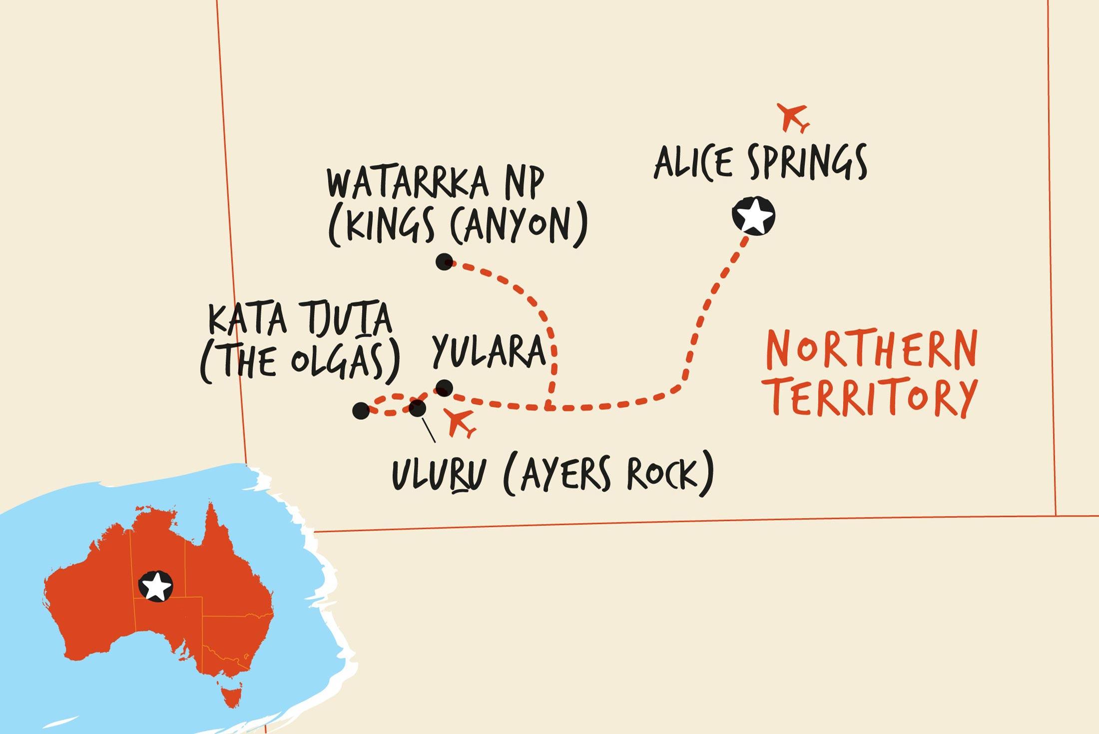 Map of Rock the Centre, Yulara to Yulara including Australia