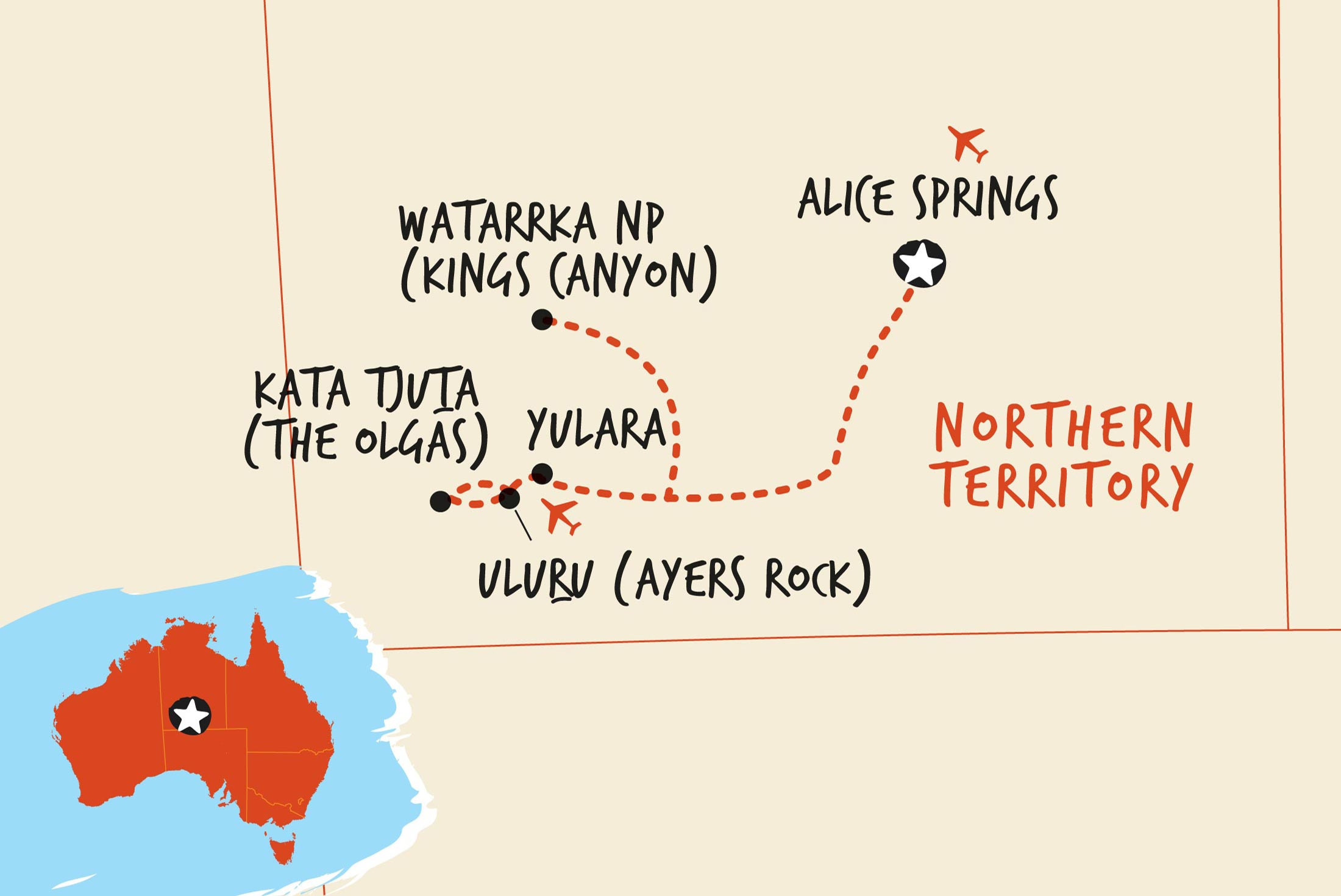 Map of Rock the Centre, Alice to Yulara including Australia