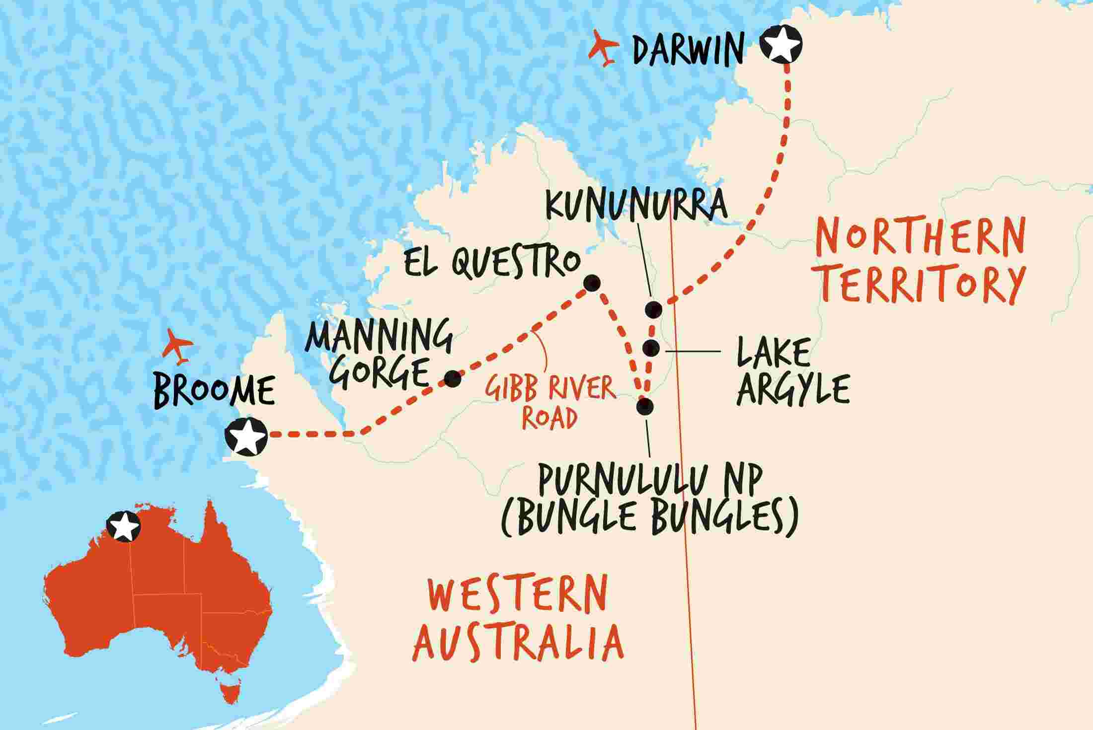 Map of 4WD Broome to Darwin Overland including Australia