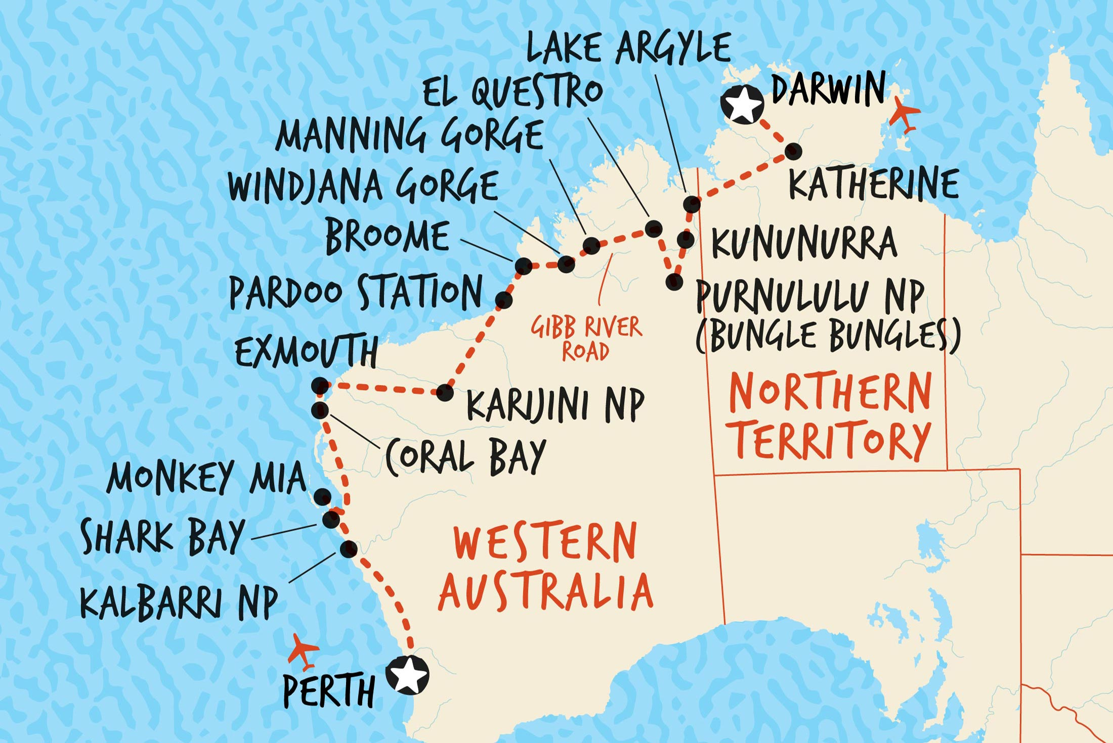 Map of Darwin to Perth Overland including Australia