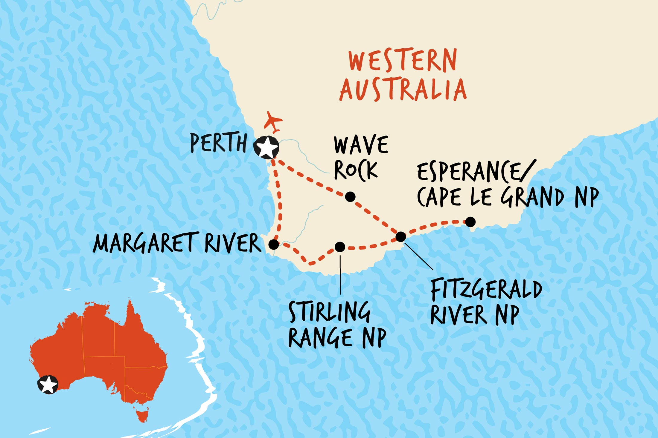 Map of Esperance & Southwest Adventure including Australia