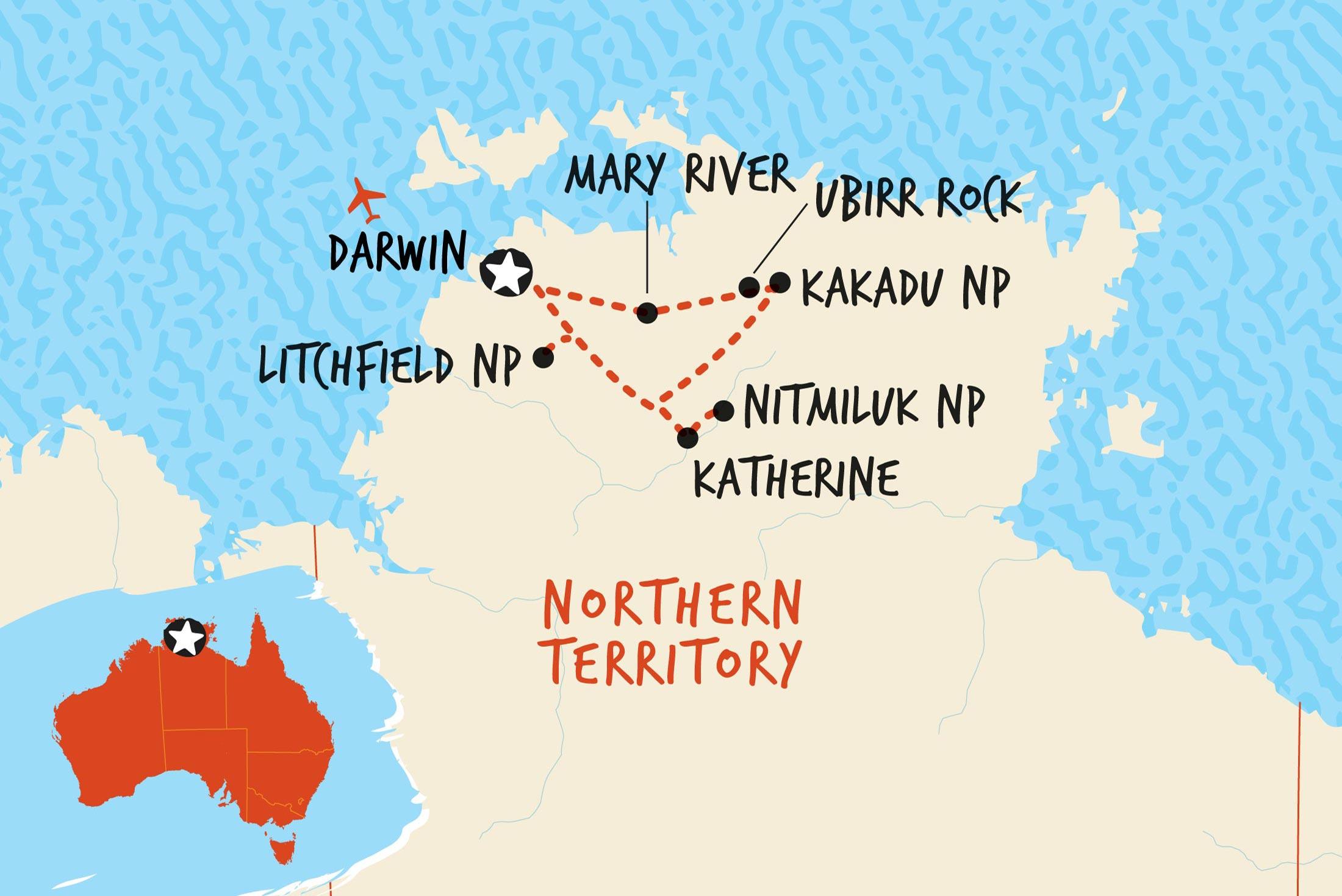 Map of Kakadu, Katherine & Litchfield Adventure including Australia