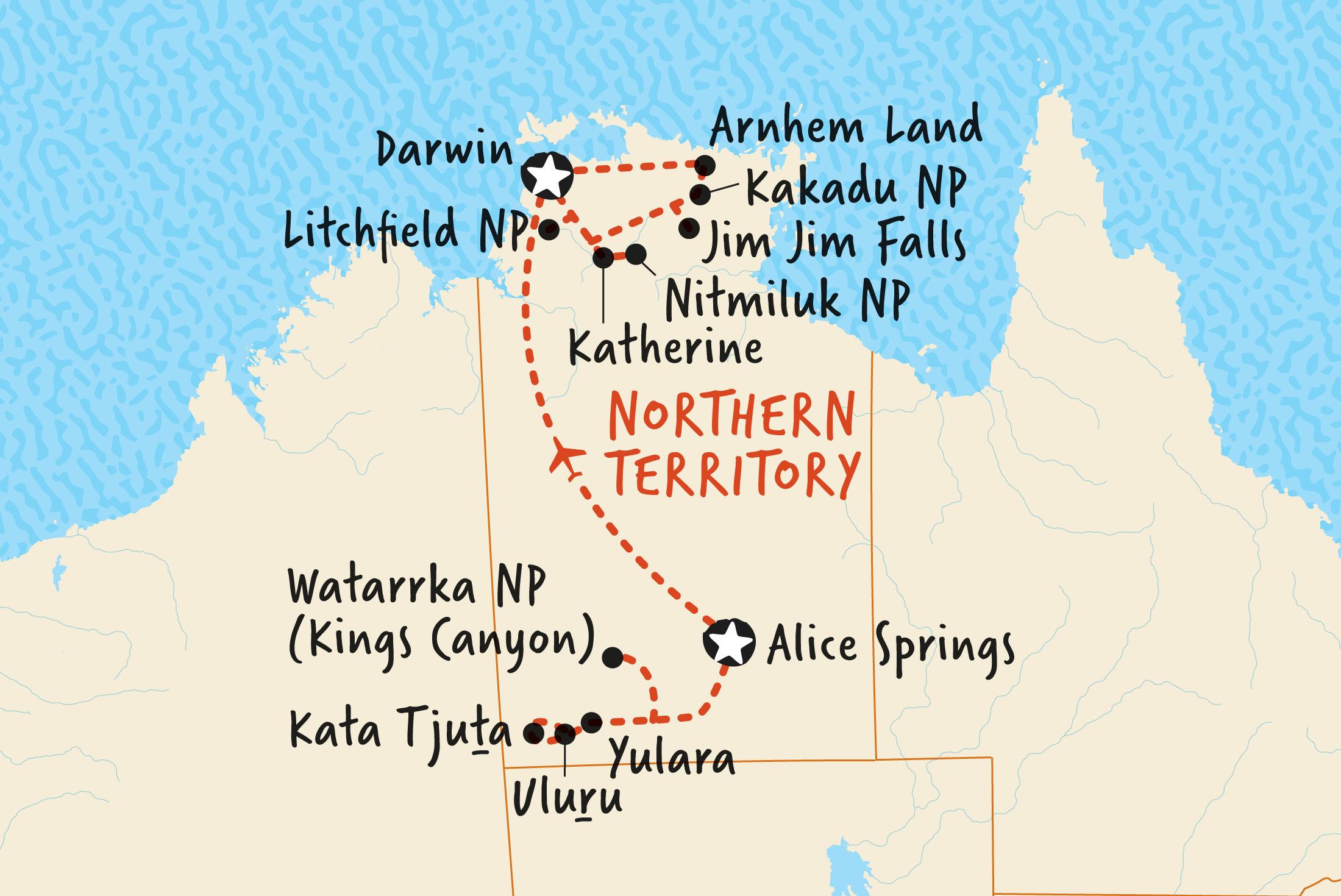 Map of Arnhem Land and Uluru Camping Adventure including Australia