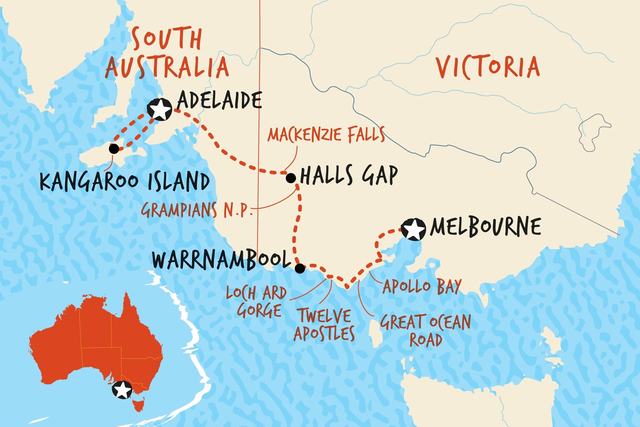 Map of Great Ocean Road & Kangaroo Island Adventure including Australia
