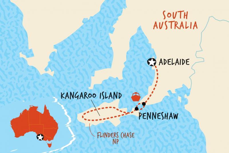 Map of Kangaroo Island Adventure  including Australia