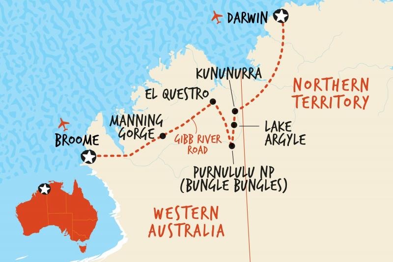 Map of 4WD Darwin to Broome Overland  including Australia